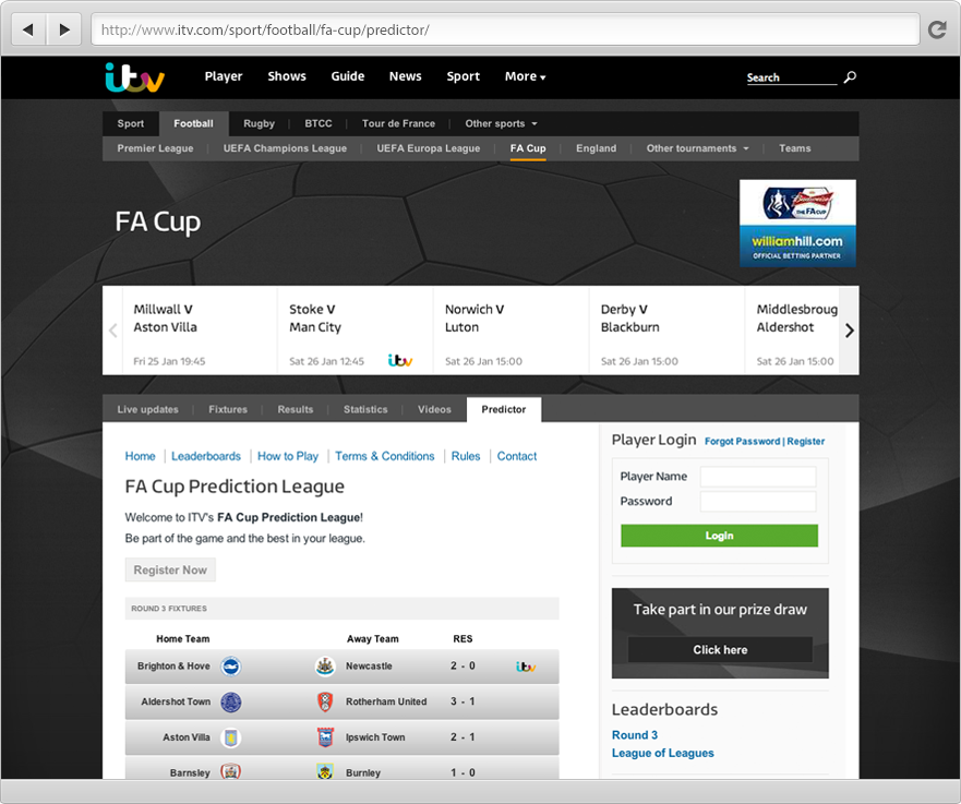 ITV FA Cup Predictor Game